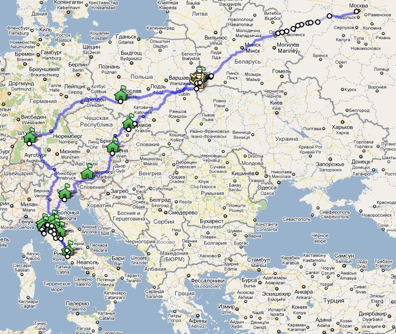Маршрут поездки Рим-2010